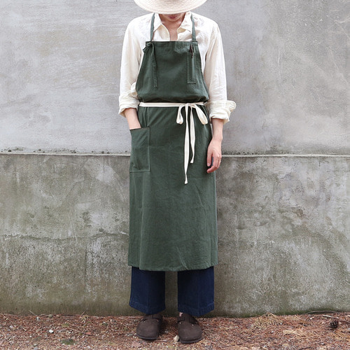 french linen apron_deep green