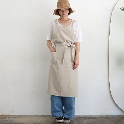 linen twill apron _  natural