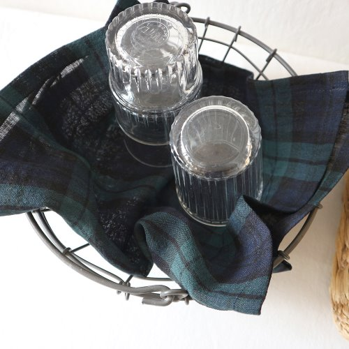 tartan check linen table mat