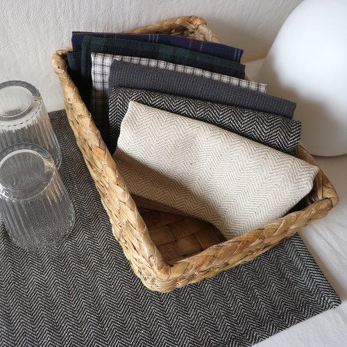 linen herringbone table mat _ 2 color
