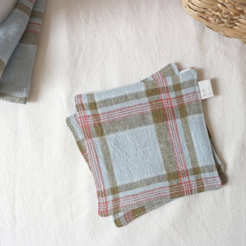 blue linen check coaster