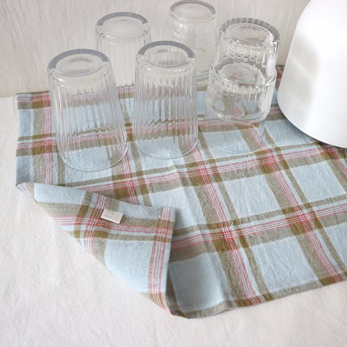 blue linen check table mat