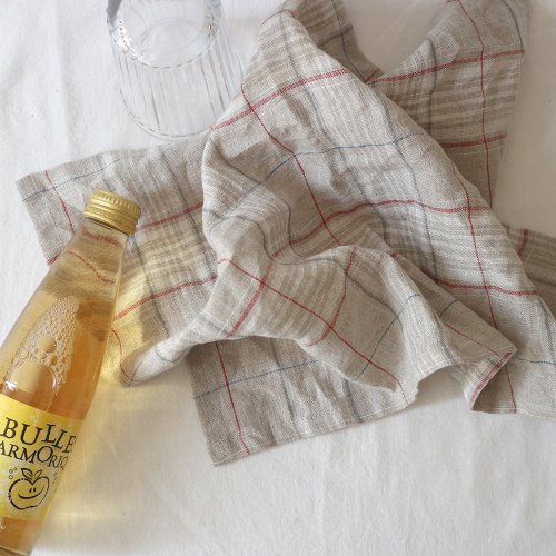 natural tartan linen check table mat