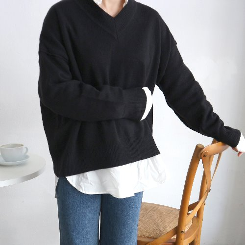 tom v-neck knit _ black