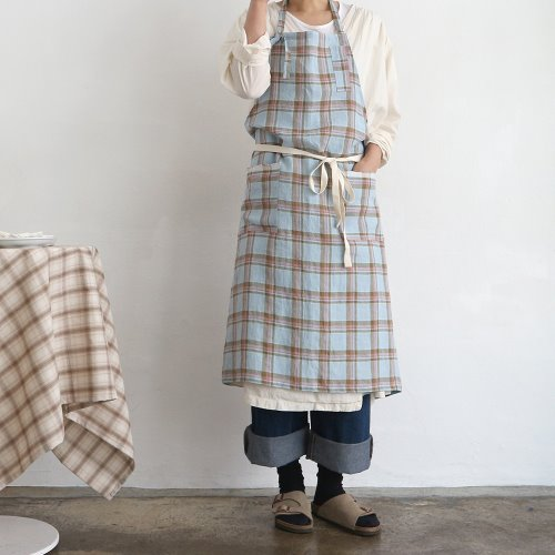 blue linen check apron