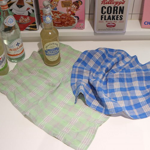 bold check linen kitchen cloth _ 2 color