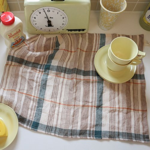 caramel linen check kitchen cloth