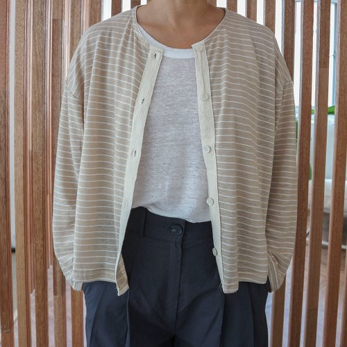 linen stripe cd _ beige