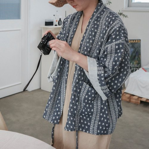 bohemian short robe _ navy