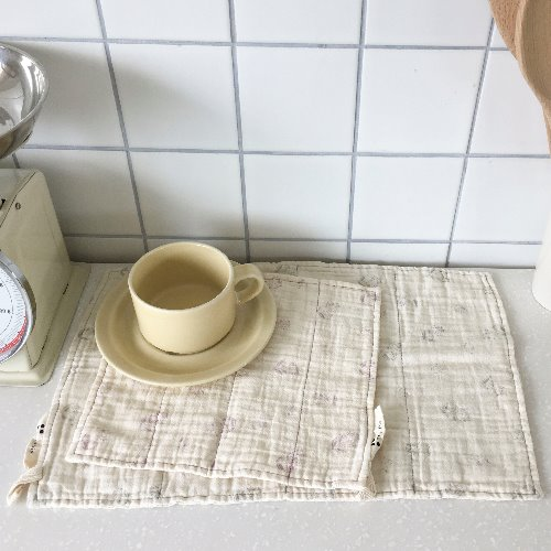 flower gauze kitchen cloth set _ 2 color
