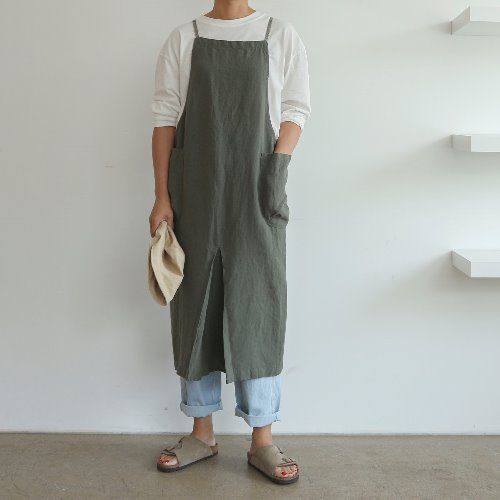 linen pleats apron _ 2 color