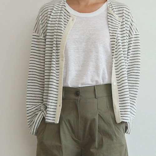 linen stripe cd _ ivory